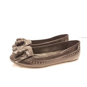 Burberry size 40 black flats patent leather